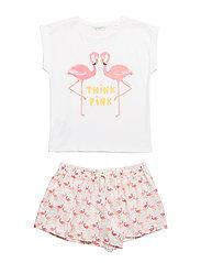 Flamingos printed pyjama - NATURAL WHITE