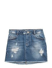 Ripped-detail denim skirt - OPEN BLUE