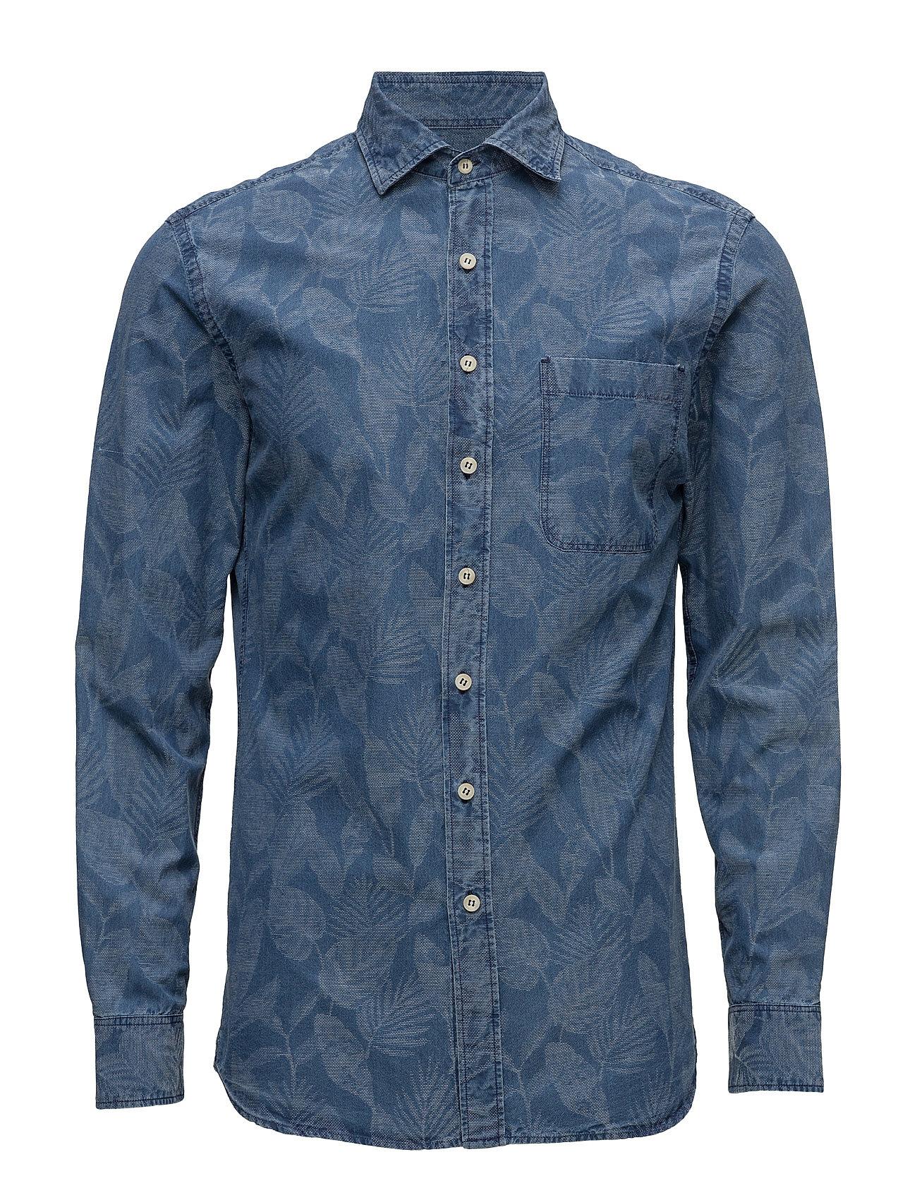 Slim-Fit Floral-Print Chambray Shirt Mango Man Casual sko til Herrer i Medium Blå