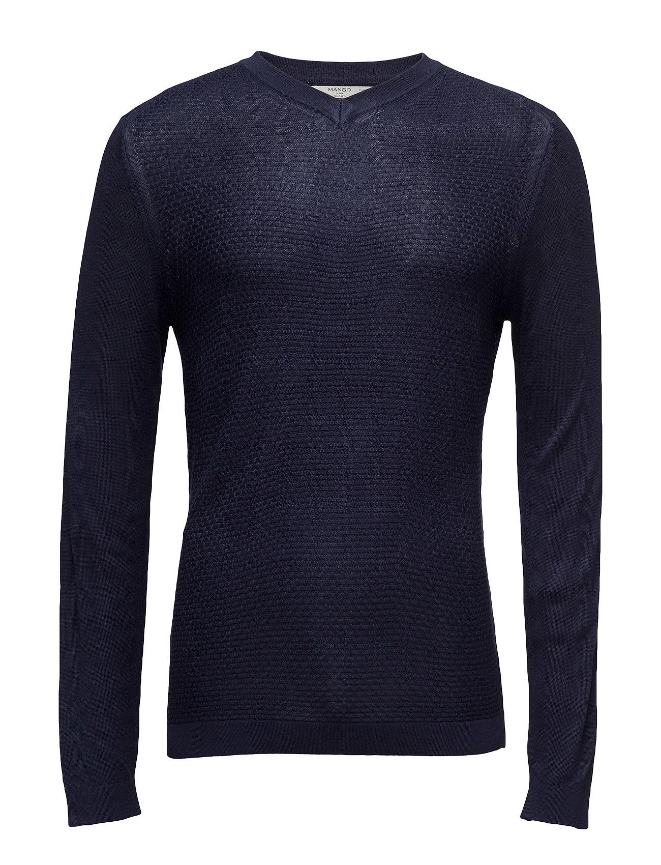 Textured Panel Sweater Mango Man V-halsede til Herrer i Navy blå