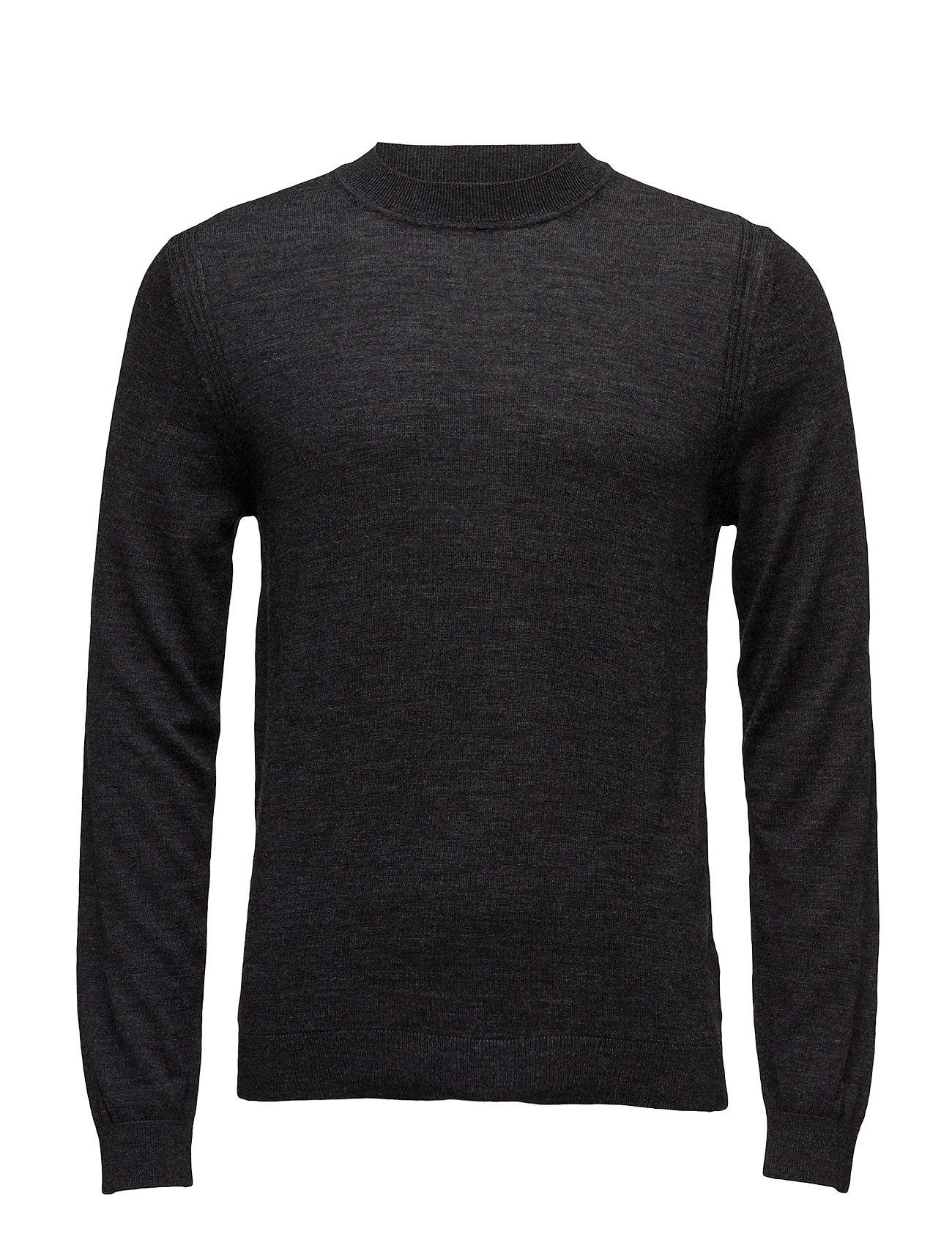 Wool-Blend Knit Sweater Mango Man Rundhalsede til Herrer i Mørkegrå