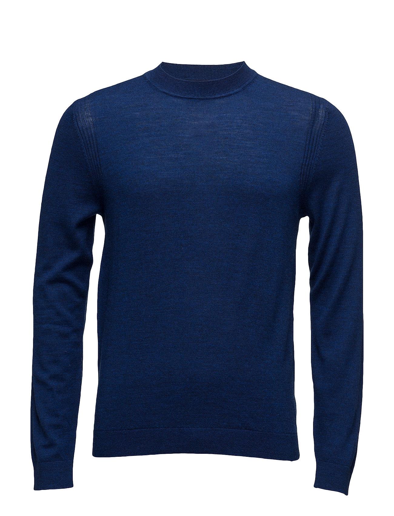 Wool-Blend Knit Sweater Mango Man Rundhalsede til Herrer i Medium Blå