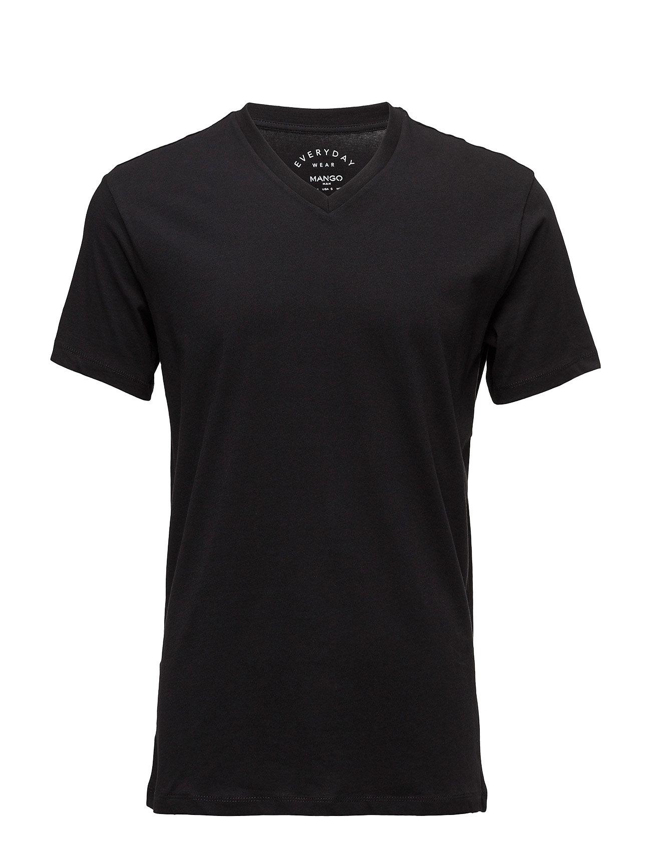 Essential Cotton-Blend Shirt Mango Man T-shirts til Mænd i Sort