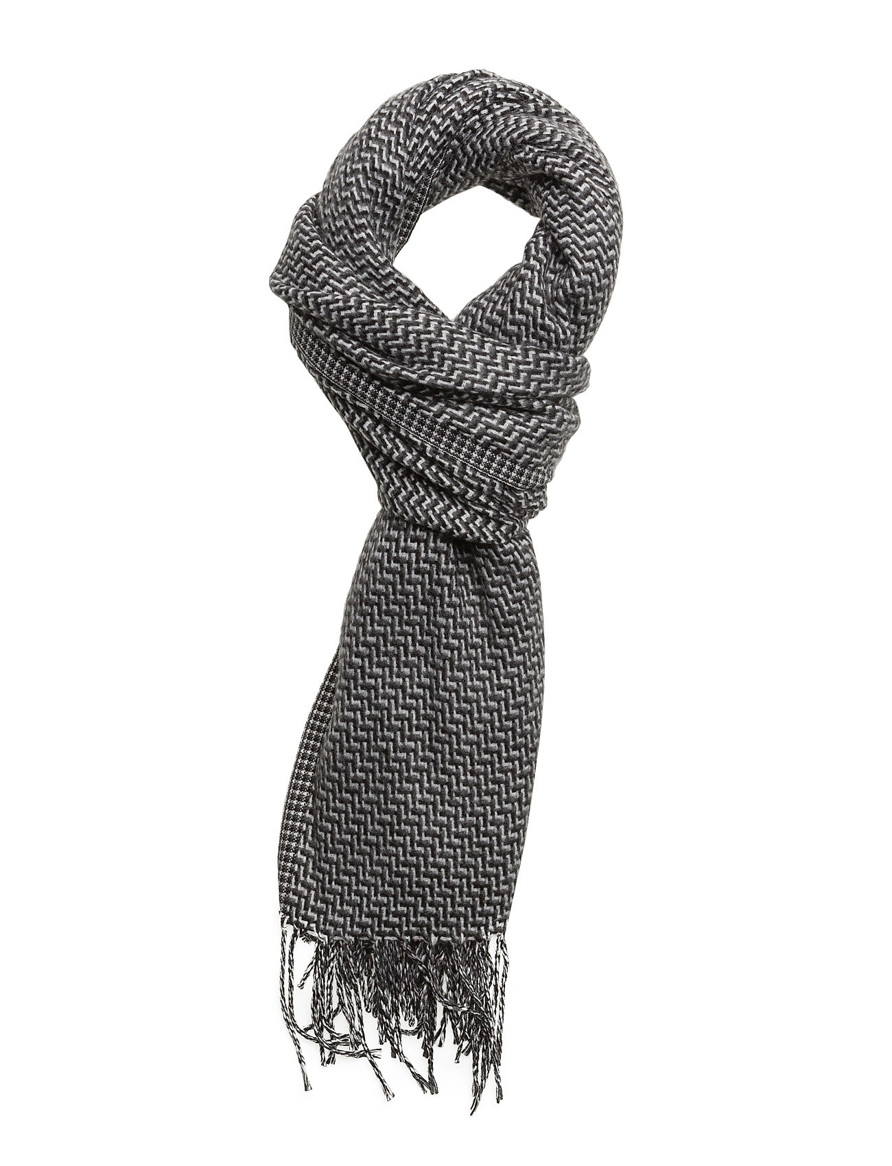 Fringed Printed Scarf Mango Man Halstørklæder til Herrer i Grå