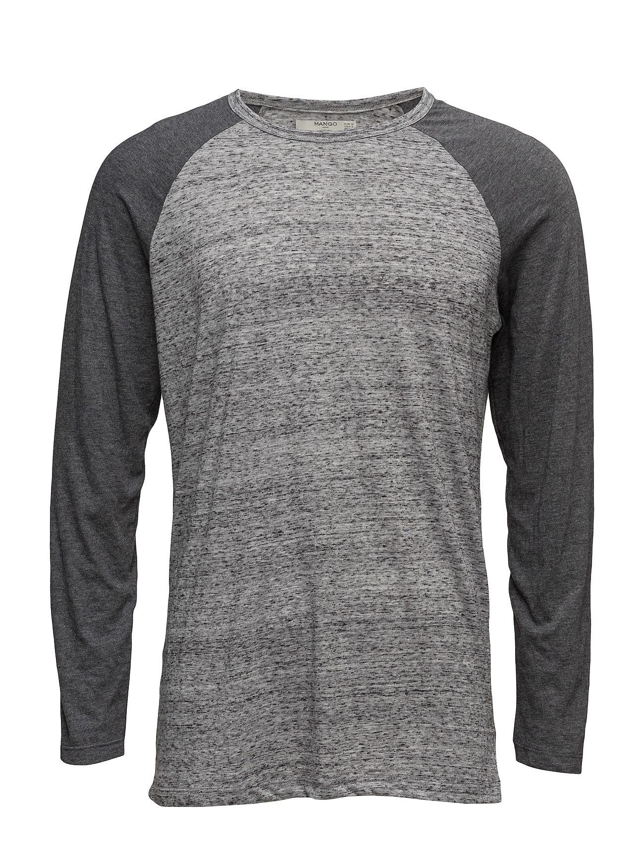 Raglan Sleeve T-Shirt Mango Man Langærmede til Herrer i Grå
