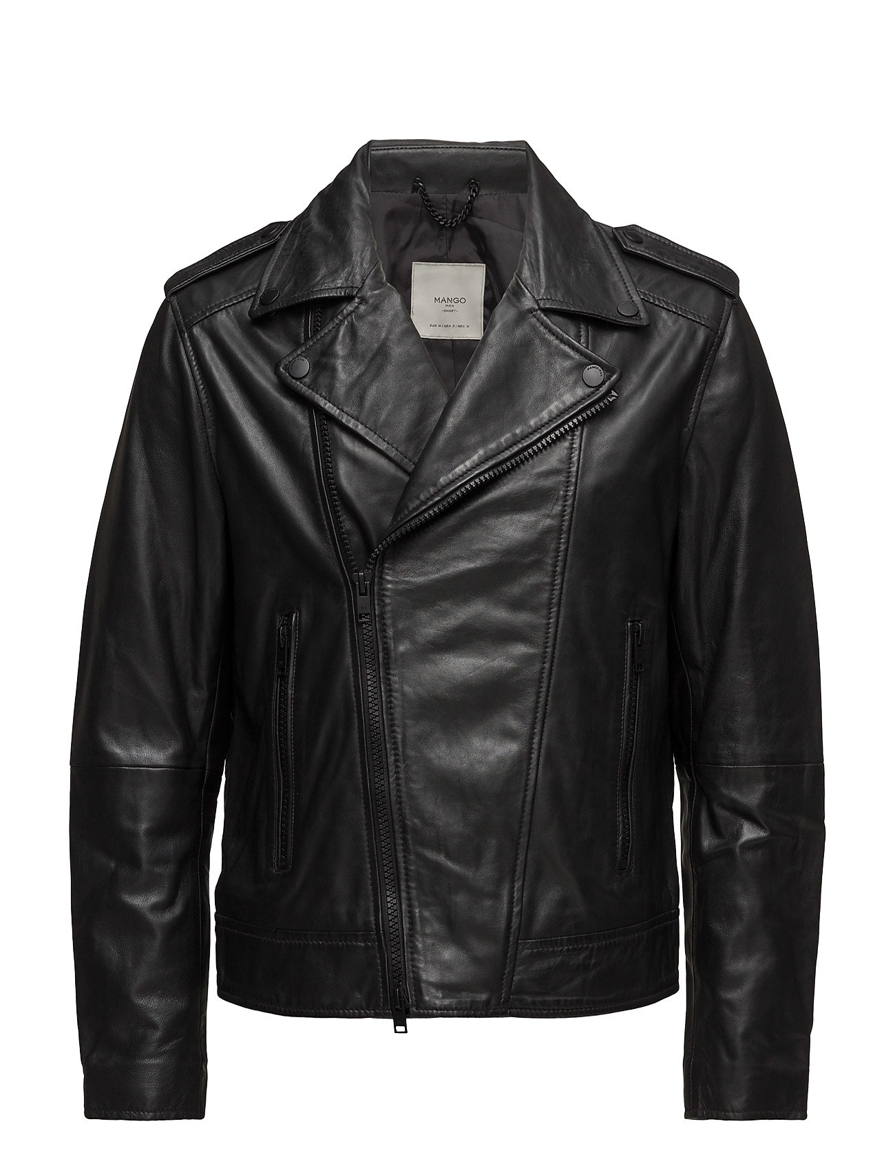 Zip-Detail Leather Biker Jacket Mango Man Jakker til Herrer i Sort