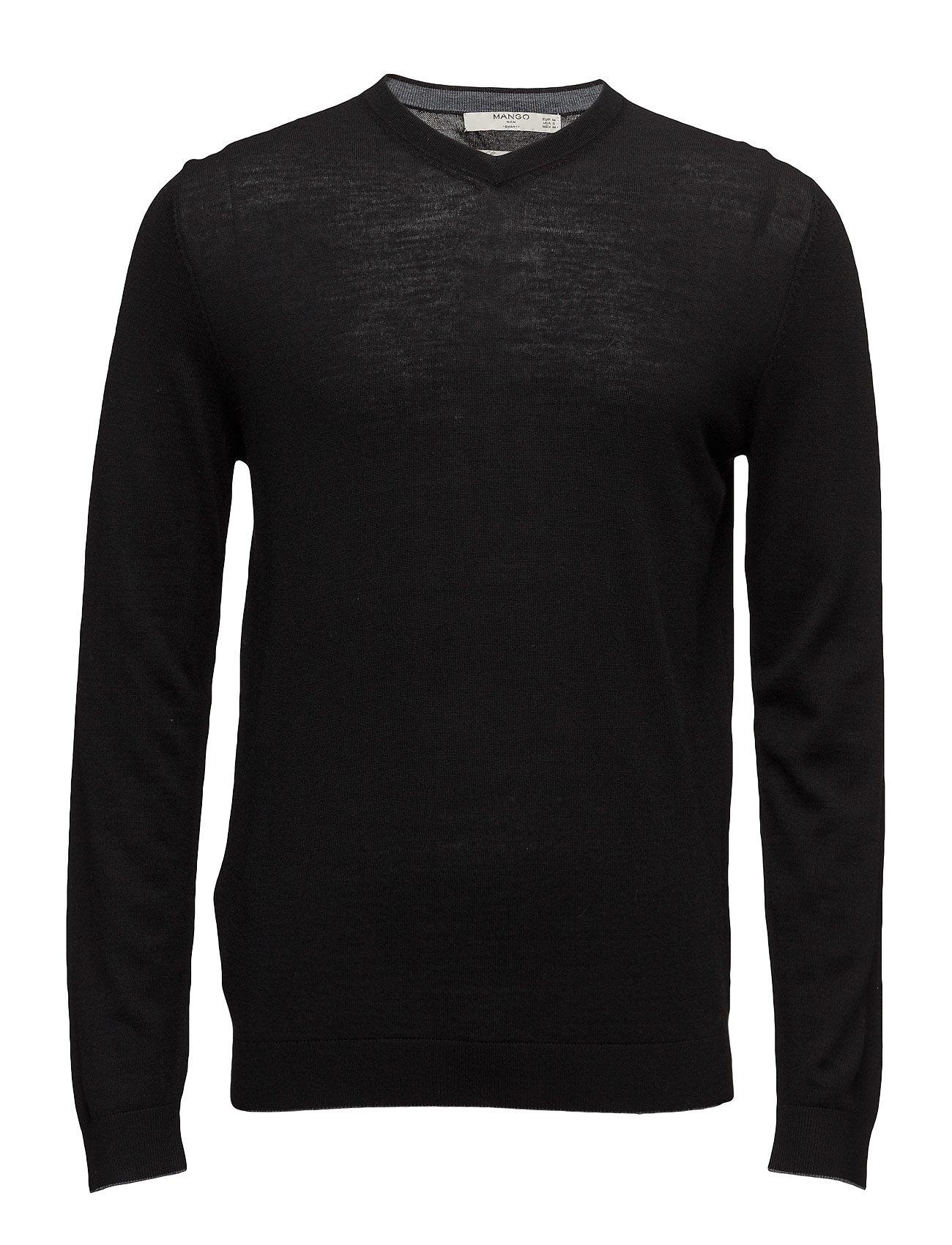Wool-Blend Knit Sweater Mango Man V-halsede til Herrer i Sort