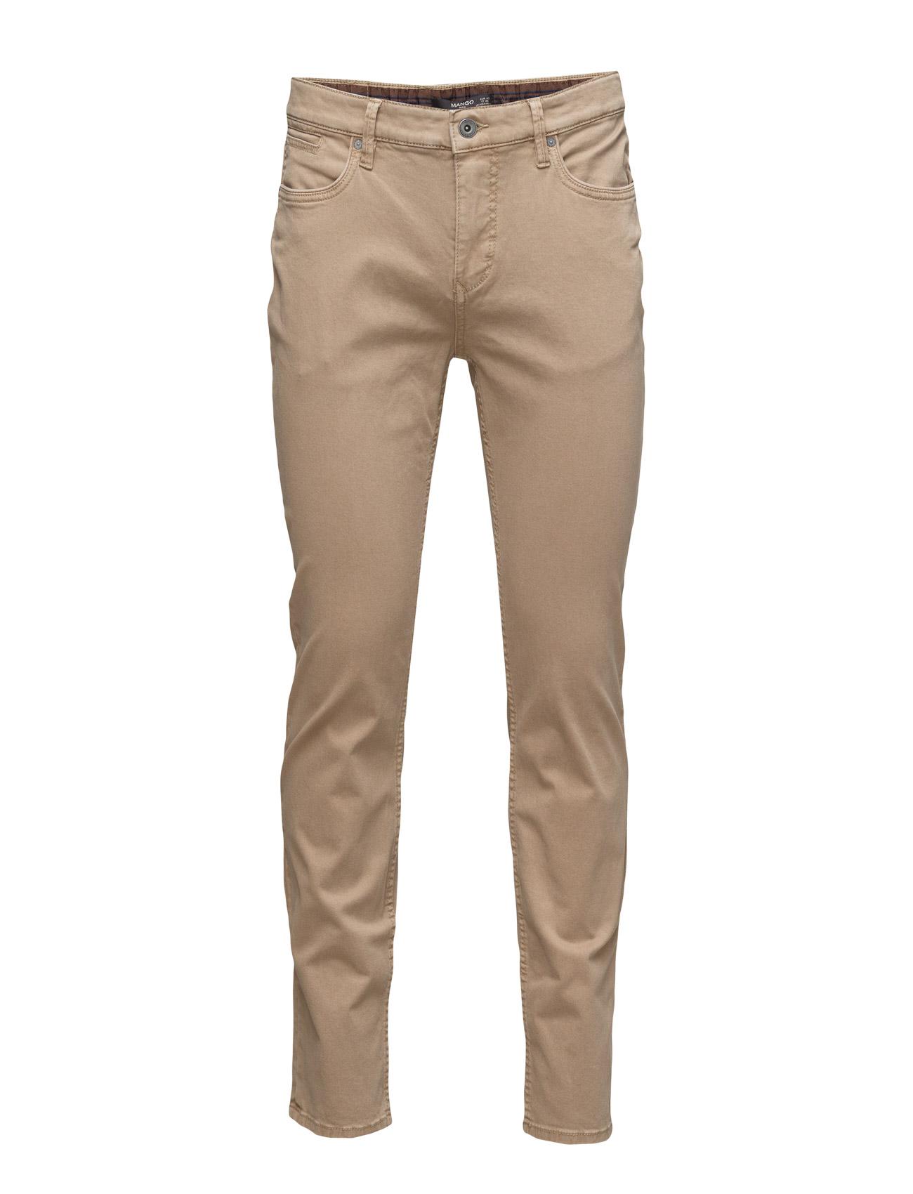 Slim-Fit 5 Pocket Garment-Dyed Trousers Mango Man Casual sko til Mænd i Medium Brown
