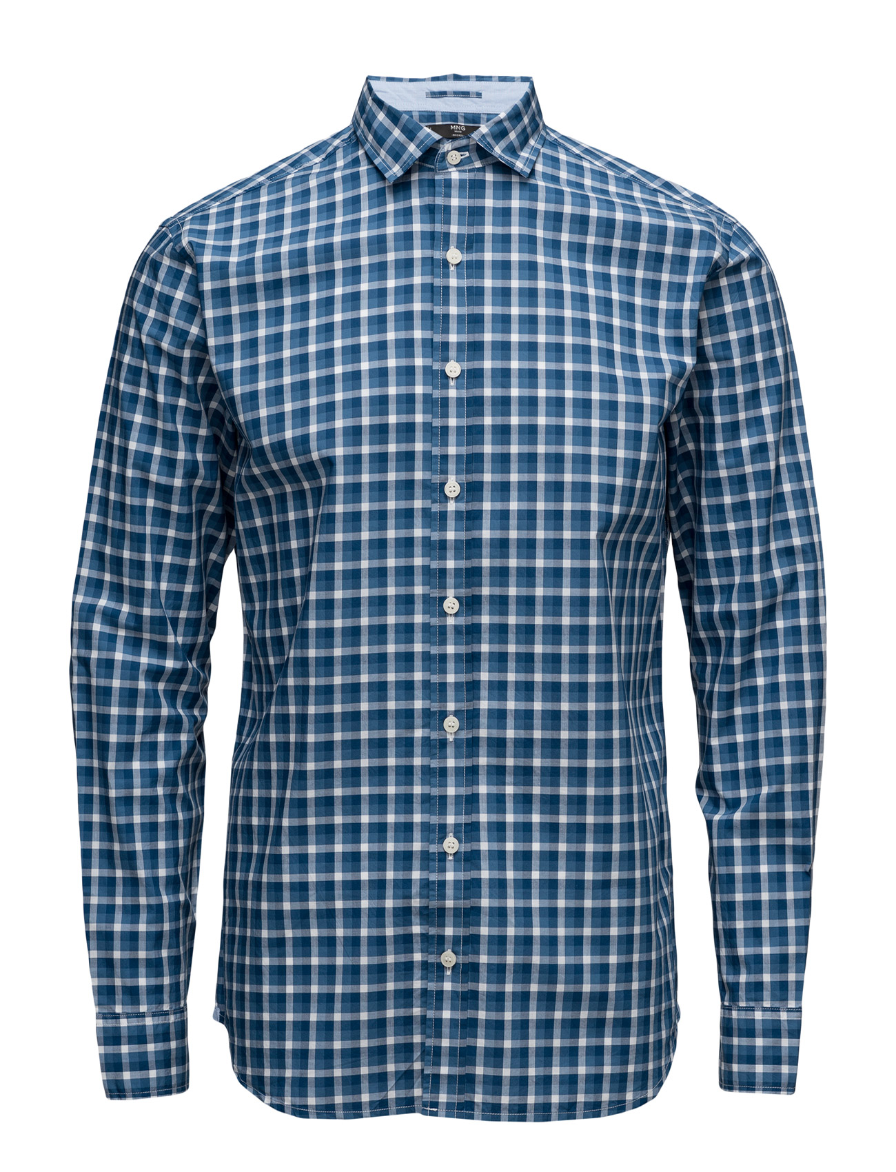 Slim-Fit Check Cotton Shirt Mango Man Casual sko til Mænd i Medium Blå