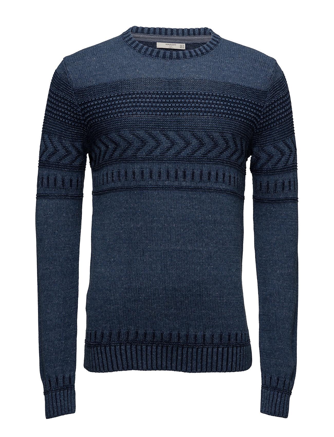 Flecked Jacquard Sweater Mango Man Striktøj til Mænd i Navy blå