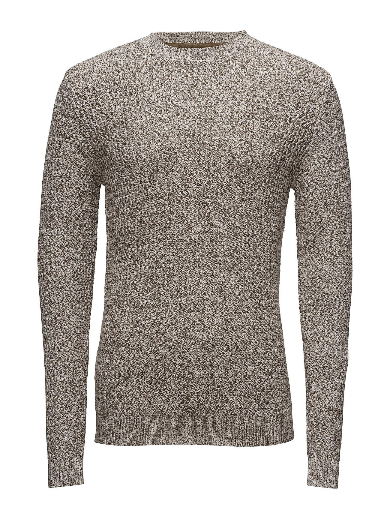 Flecked Cotton-Blend Sweater Mango Man Rundhalsede til Herrer i Beige - Khaki