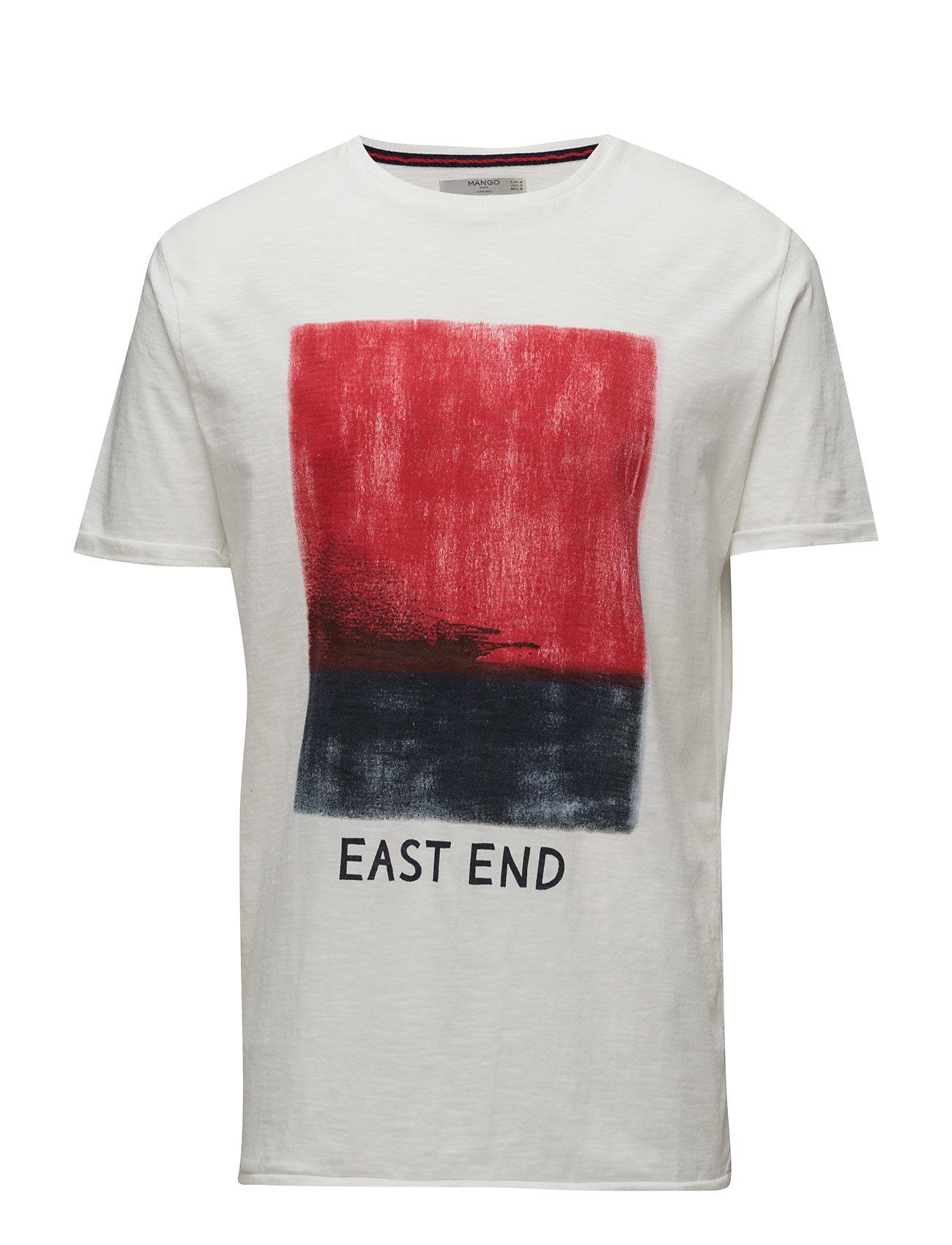 Image Cotton T-Shirt Mango Man Kortærmede til Herrer i hvid