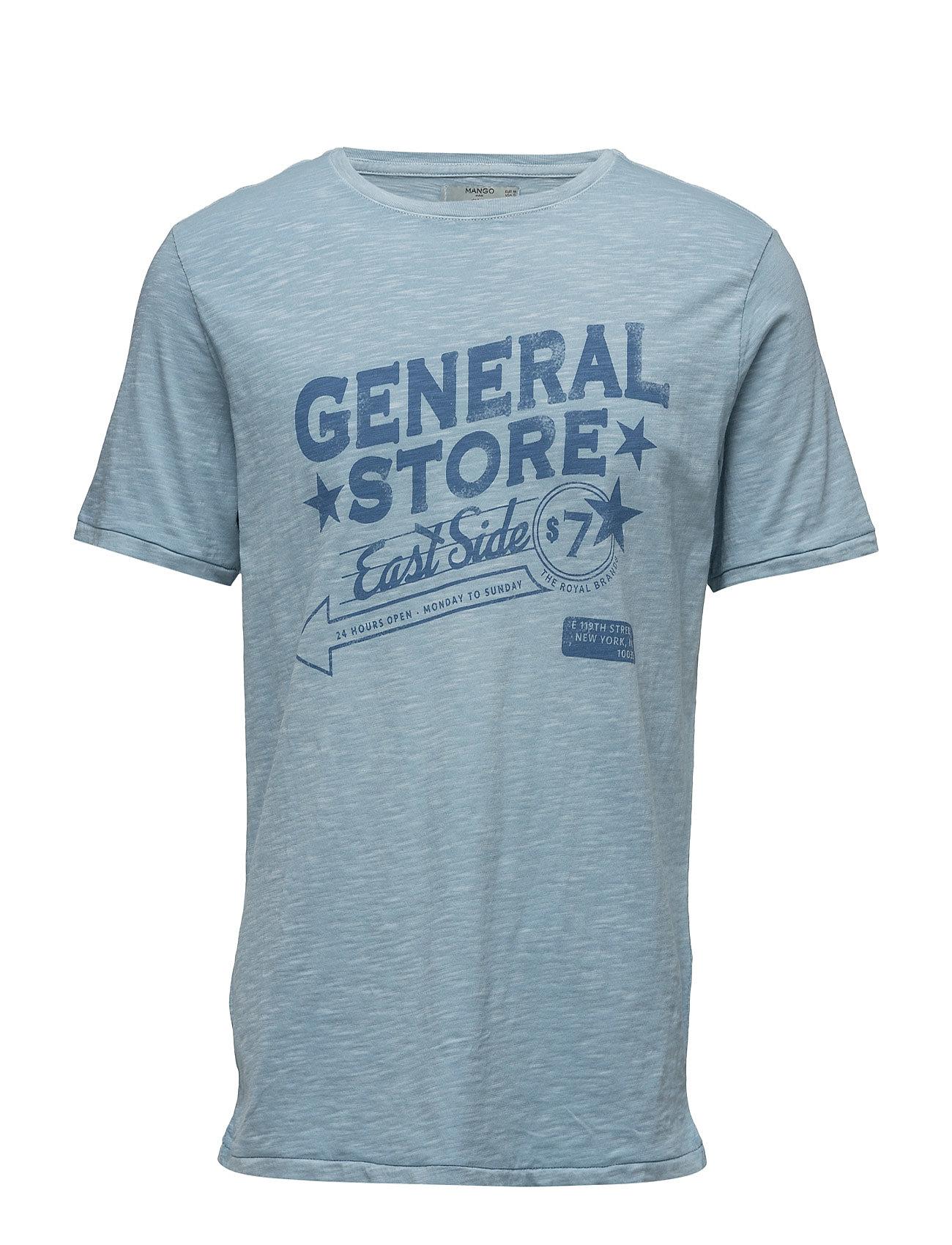 Slub-Cotton Printed T-Shirt Mango Man Kortærmede til Herrer i Medium Blå