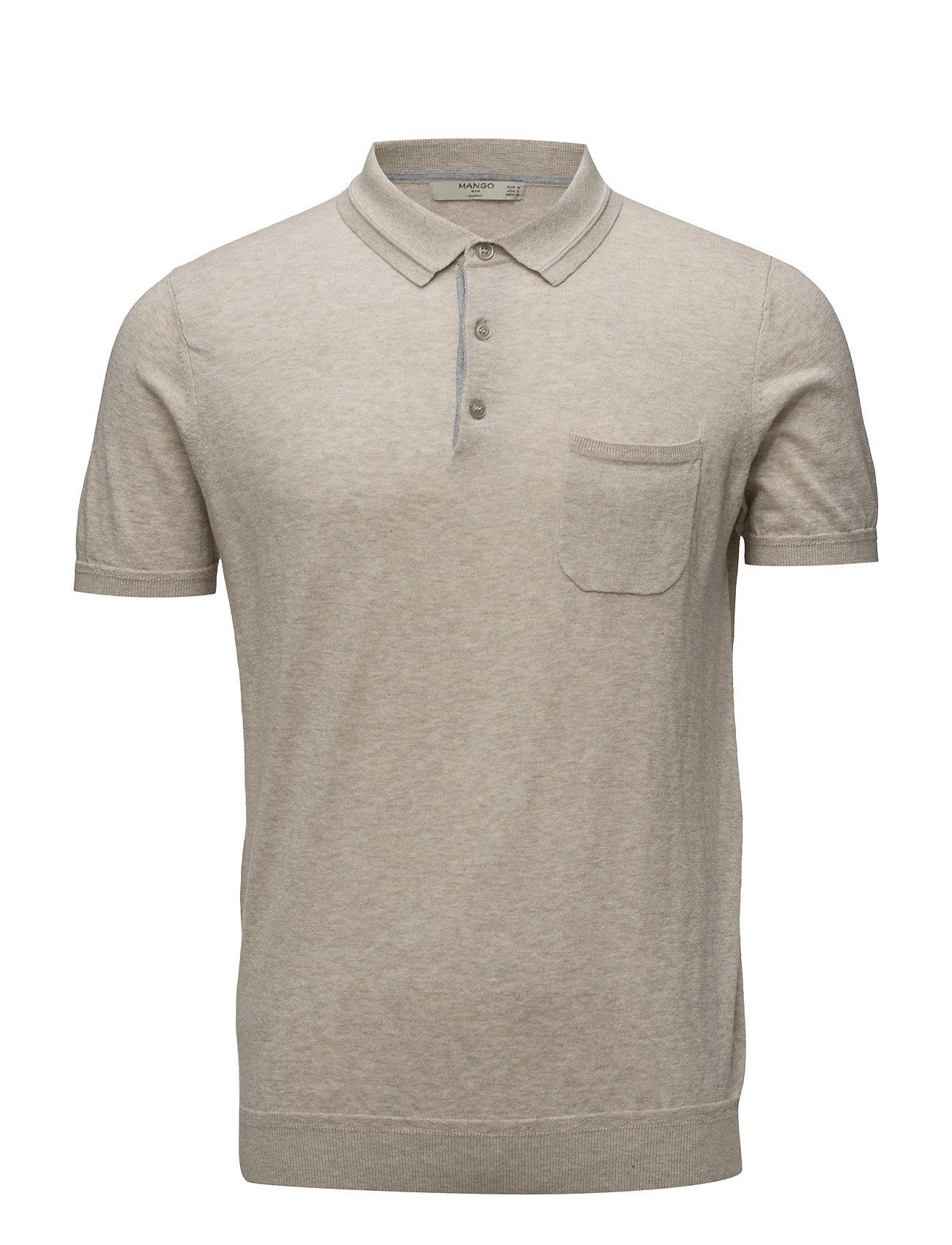 Chest-Pocket Cotton Pocket Polo Shirt Mango Man Kortærmede polo t-shirts til Herrer i Light Beige