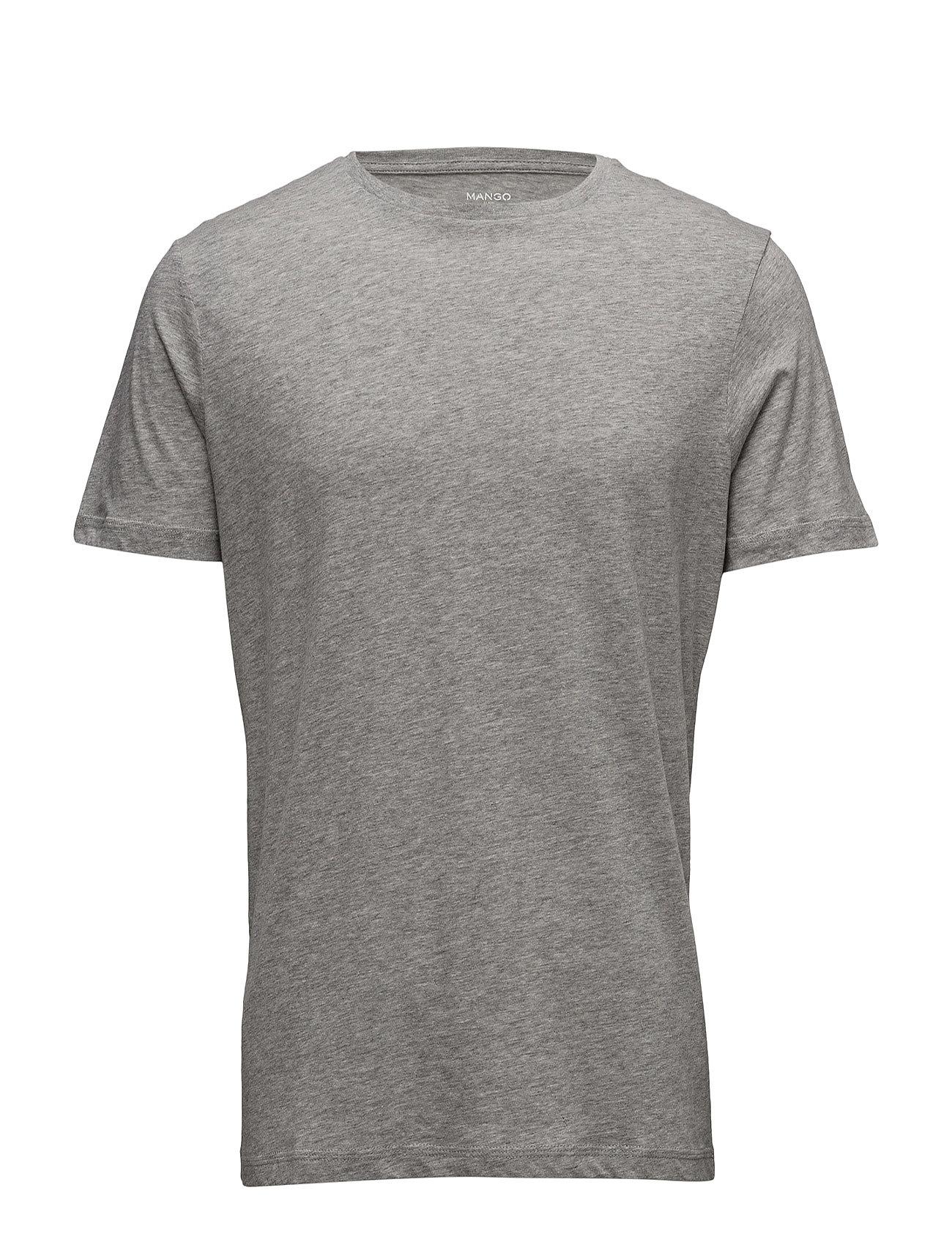 Essential Cotton T-Shirt Mango Man Kortærmede til Mænd i Lt Pastel Grey