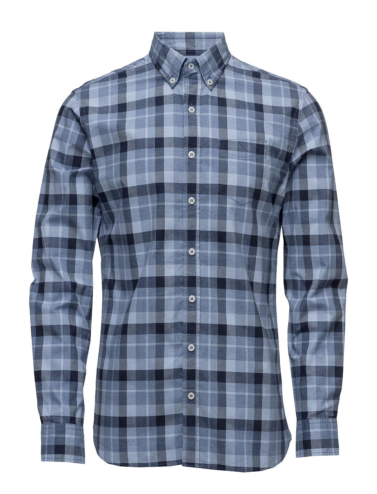Slim-Fit Check Shirt Mango Man Trøjer til Mænd i Medium Blå