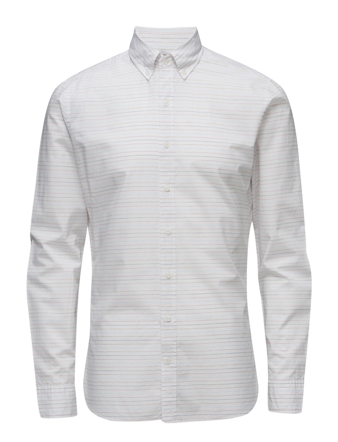 Slim-Fit Stripe-Pattern Shirt Mango Man Casual sko til Herrer i