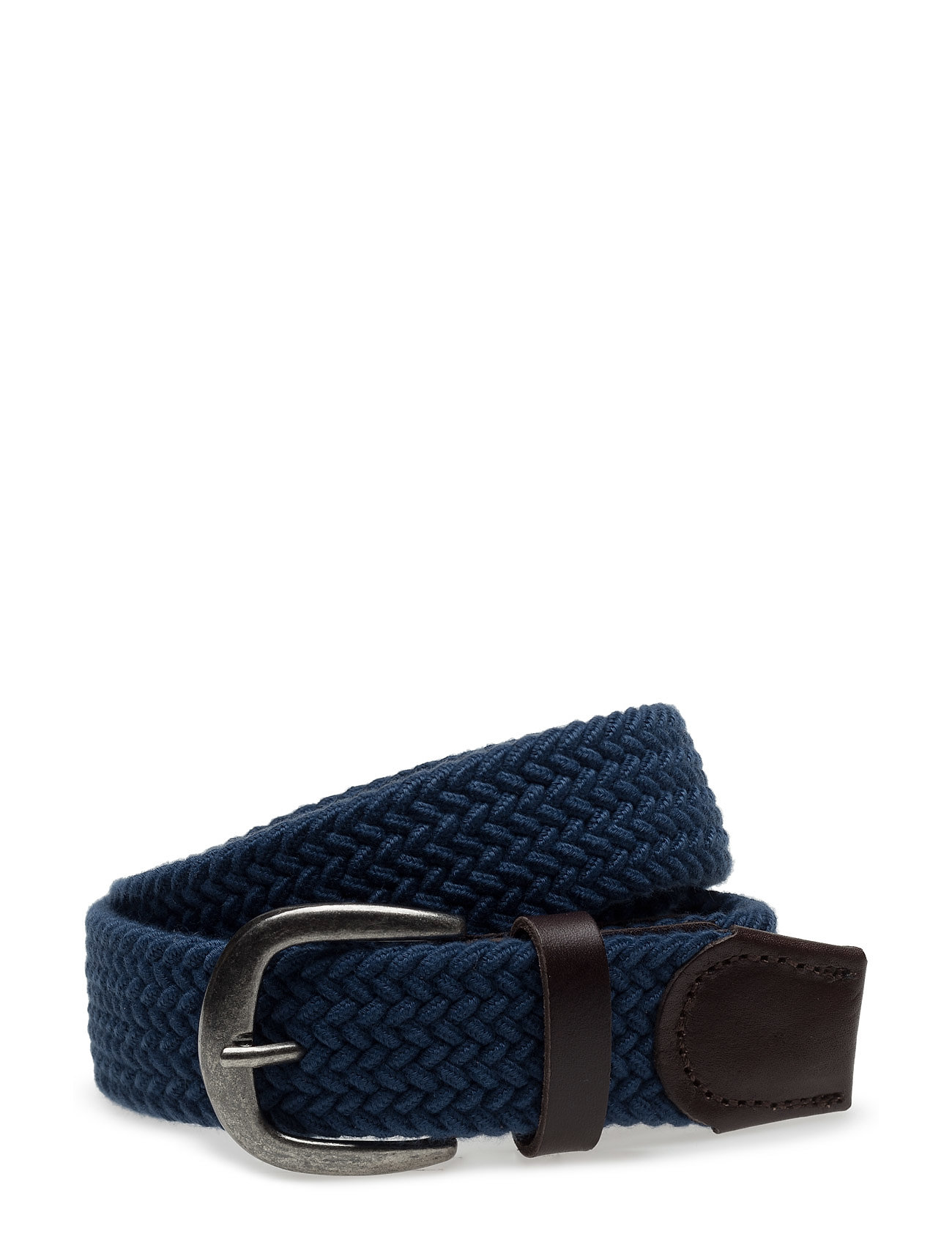 Leather-Appliqu Braided Belt Mango Man Bælter til Herrer i Medium Blå