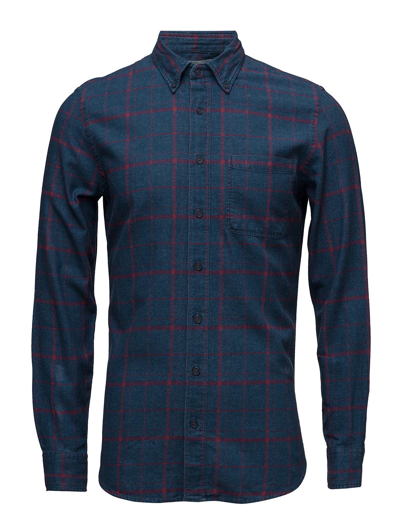Check Chambray Shirt Mango Man Casual sko til Herrer i Bright blå