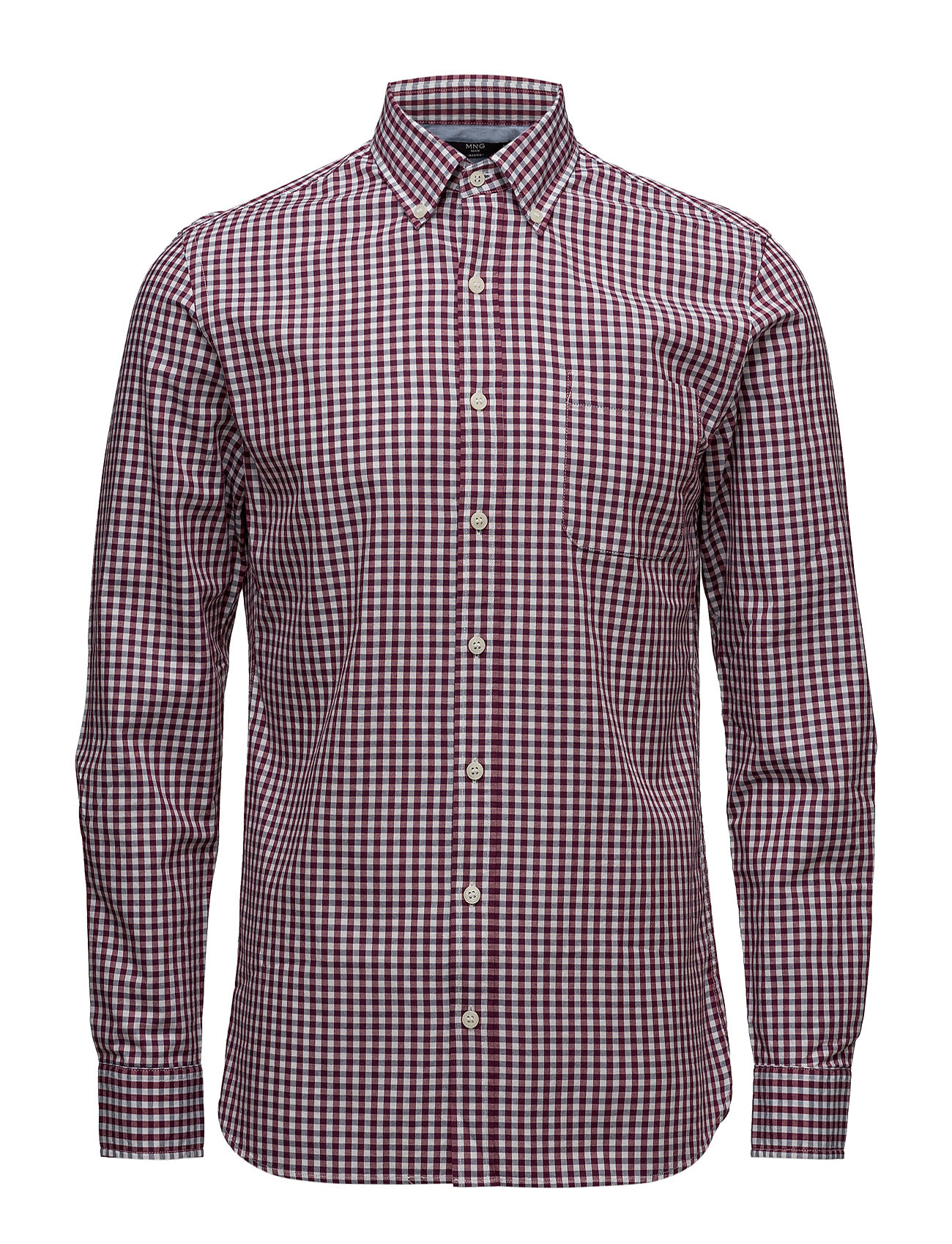 Slim-Fit Gingham Check Shirt Mango Man Casual sko til Herrer i Medium Pink