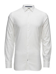 Slim-fit textured cotton shirt - WHITE