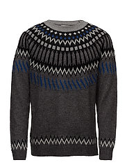 Jacquard wool sweater - DARK GREY