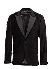 Slim-fit velvet suit blazer - BLACK