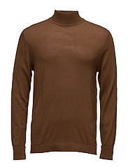 High collar wool sweater - MEDIUM BROWN