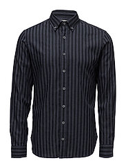 Slim-fit striped cotton shirt - GREY
