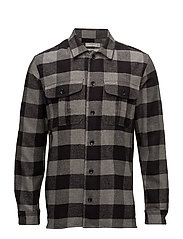 Regular-fit checked flannel shirt - DARK GREY
