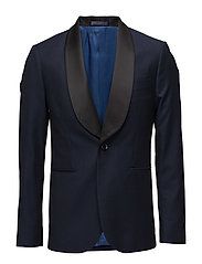 Slim-fit patterned suit blazer - NAVY