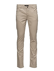 Slim-fit 5 pocket cotton trousers - LT PASTEL BROWN