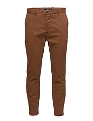 Slim-fit 5 pocket cotton trousers - MEDIUM BROWN