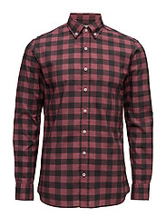 Slim-fit checked cotton shirt - DARK RED