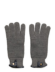 Leather detail gloves - GREY