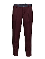 Contrast printed chinos - DARK RED