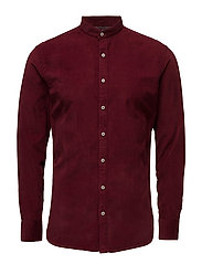 Slim-fit corduroy cotton shirt - DARK RED