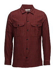 Slim-fit check flannel shirt - RED