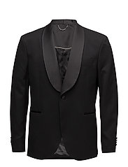 Slim-fit patterned suit blazer - BLACK