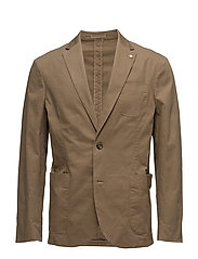 Slim-fit cotton canvas blazer - DARK GREEN
