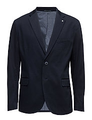 Slim-fit cotton-blend textured blazer - NAVY