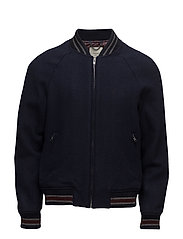 Contrast trims wool bomber jacket - NAVY
