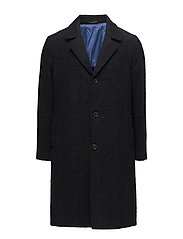Check pattern textured coat - NAVY