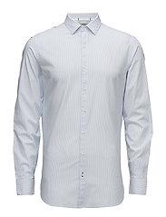 Slim-fit striped cotton shirt - LT-PASTEL BLUE