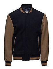 Bicolor wool bomber jacket - NAVY