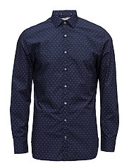 Slim-fit printed cotton shirt - NAVY