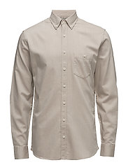 Slim-fit cotton-twill shirt - LT PASTEL BROWN