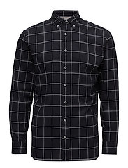 Regular-fit checked flannel shirt - NAVY