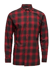 Regular-fit checked flannel shirt - RED