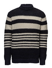 Striped wool-blend sweater - NAVY